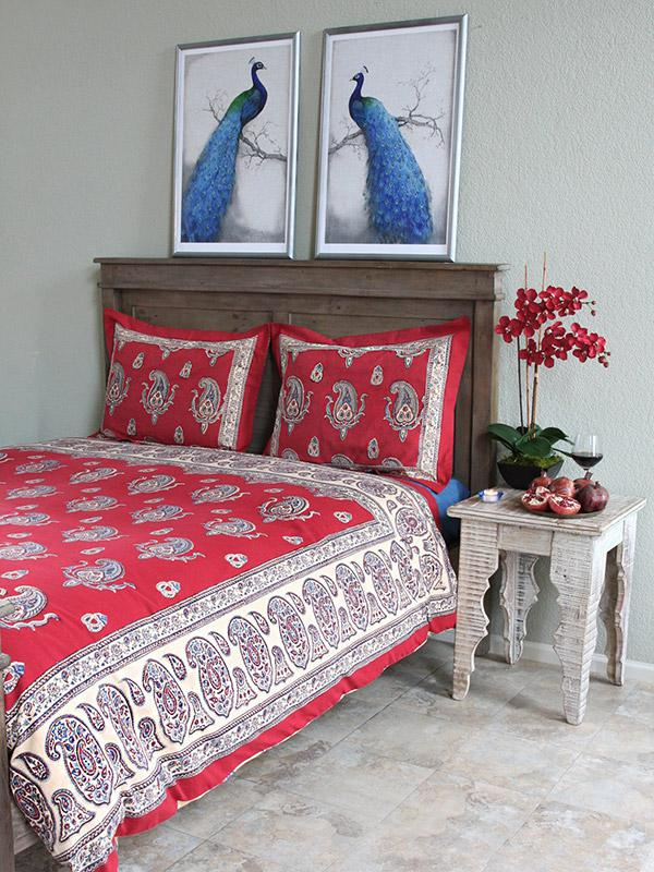 dancing paisleys kashmir vintage red duvet cover