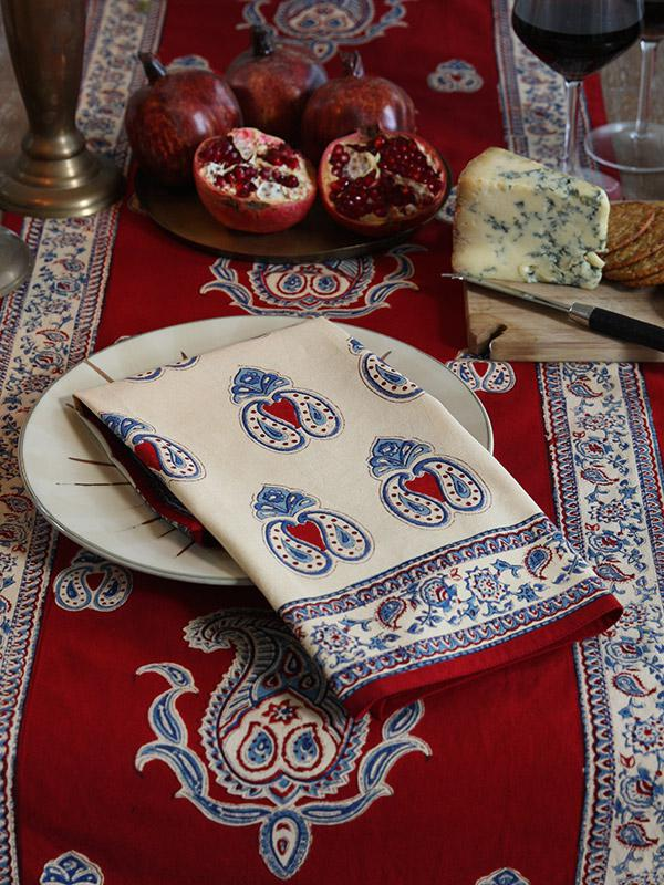 Cream Dinner Napkins Paisley Print Cream Cloth Napkins