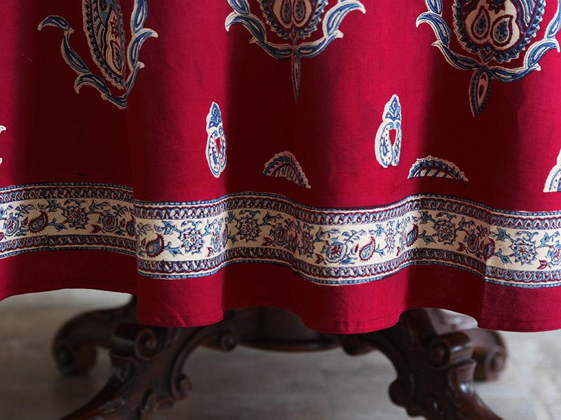 70 90 Inch Red Round Table Cloth Paisley Print Red Round