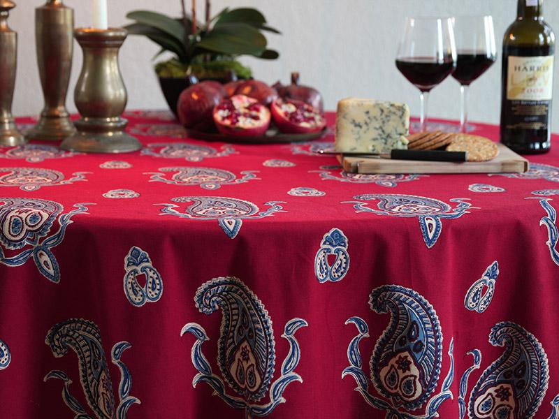Dancing Paisleys ~ Paisley Print Red Kashmir Round Tablecloth