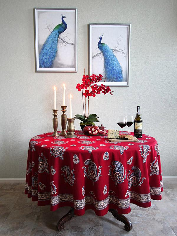 70 90 Inch Red Round Table Cloth, Paisley Print Red Round Table Cloth,  Vintage Tablecloth | Saffron Marigold
