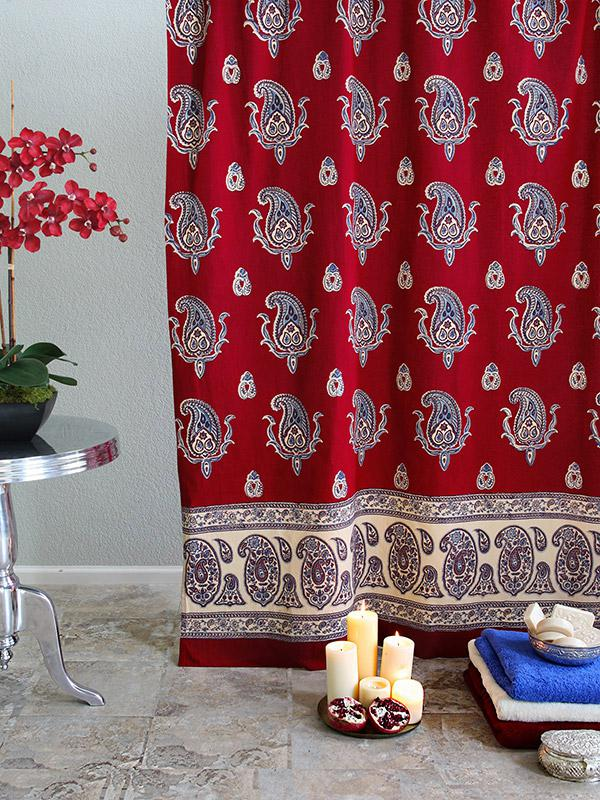 Red Shower Curtain Paisley Print Red Shower Curtain