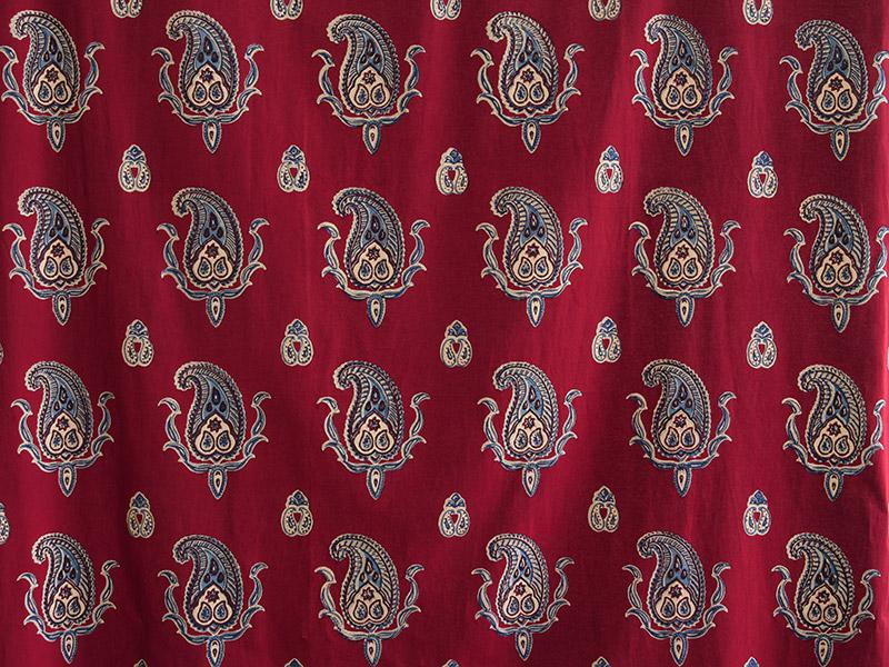 Red Kitchen Curtains Paisley Kashmir Saffron Marigold