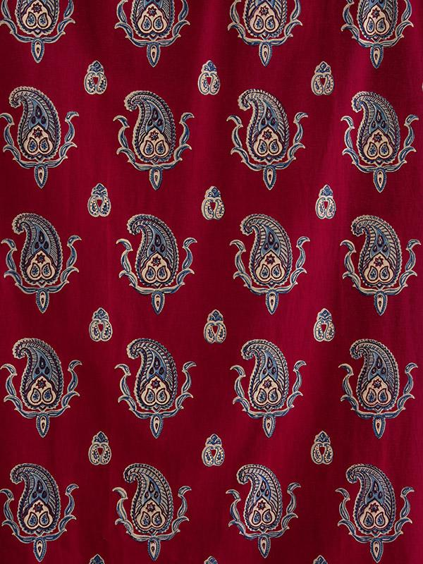 Red Fabric Swatch Paisley Vintage Blue Saffron Marigold