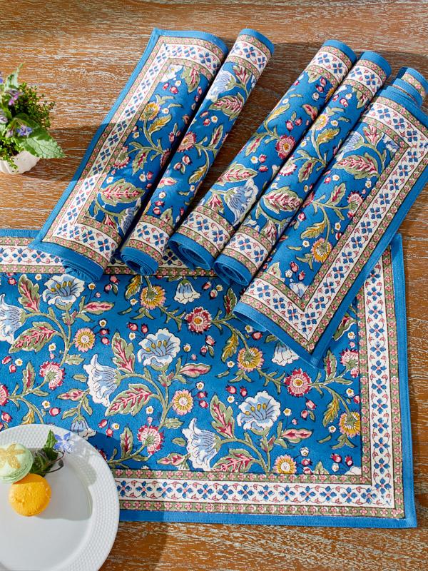 blue floral cotton placemats