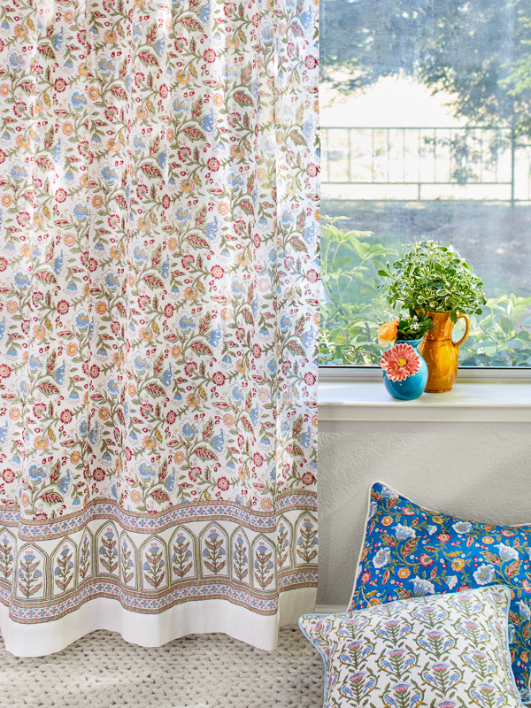 French cottage curtains with floral pattern