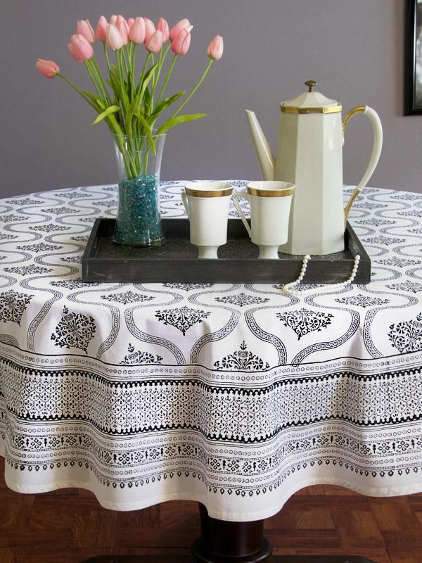 filigree black white vintage hollywood glamour round tablecloth