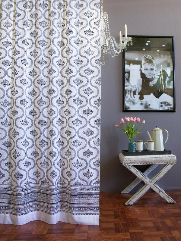 Black Amp White Curtain Vintage Hollywood Saffron Marigold