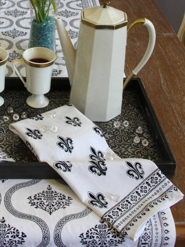 Black And White Dinner Napkins Hollywood Glamour Cloth