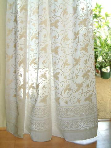 Sheer White Floral Cotton Curtain