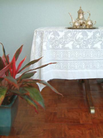 White Tablecloth, Indian Tablecloth, Elegant Tablecloth, Wedding Tablecloth,  Cotton Tablecloth | Saffron Marigold