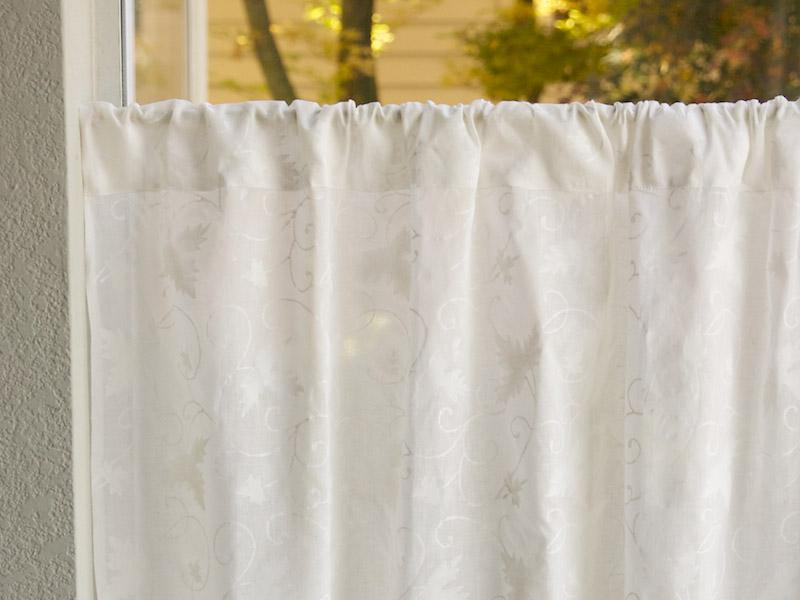 White Curtain Panel Floral Country Cottage Saffron