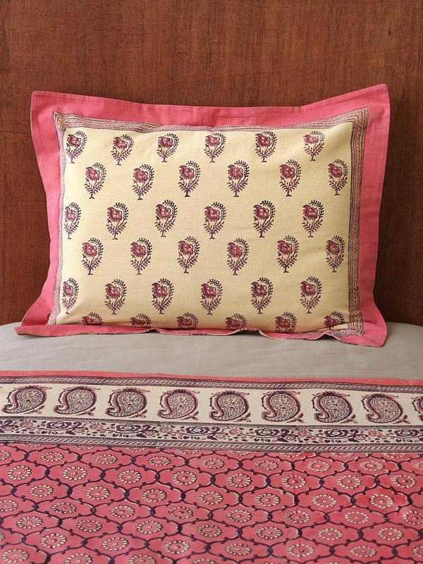 Tan Pink Sham Standard India Pillow Rose Pillow Cover Floral