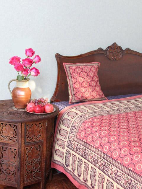 India Rose ~ Luxury Pink Floral Indian Sari Print Queen Duvet