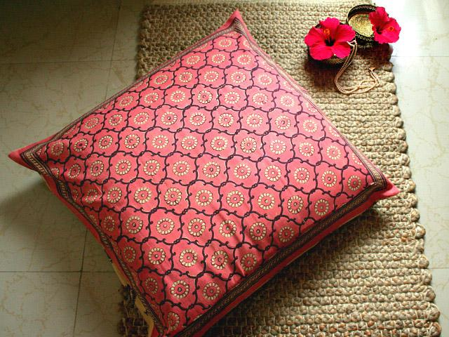 Pink hand printed throw pillow