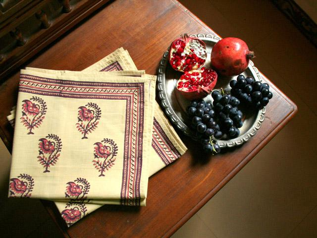 Colorful holiday table napkins