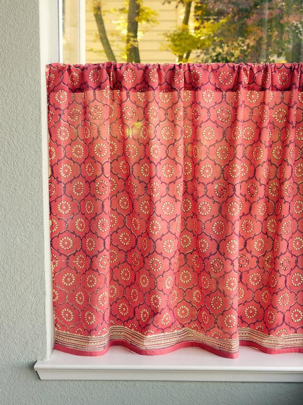 Exotic Pink Cafe Curtain, Pink Rose Kitchen Tier Curtains, Luxury Kitchen  Cafe Curtains, Kitchen Win | Saffron Marigold
