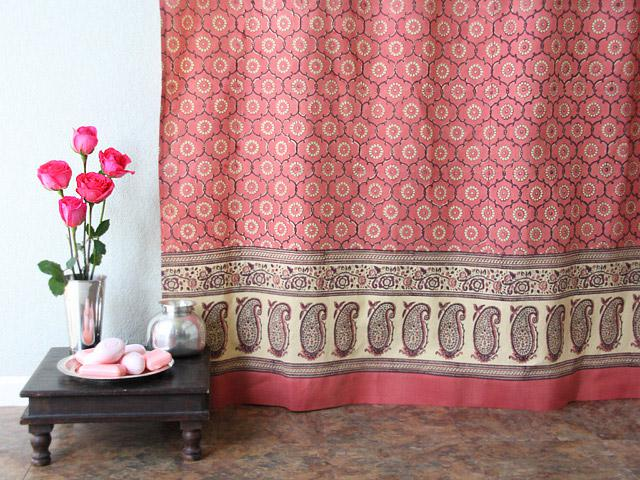 Pink Shower Curtain, Floral Rose Shower Curtain, Pink Floral Shower Curtain,  Indian Shower Curtain | Saffron Marigold