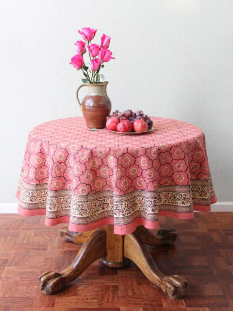 Rose Round Tablecloth, Pink Floral Round Tablecloth, Indian Tablecloth, 90  And 70 Round Tablecloth | Saffron Marigold
