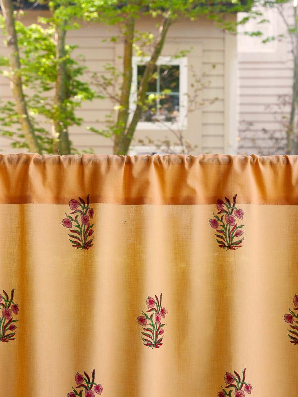 Orange Paisley Kitchen Curtain India Sari Print Kitchen