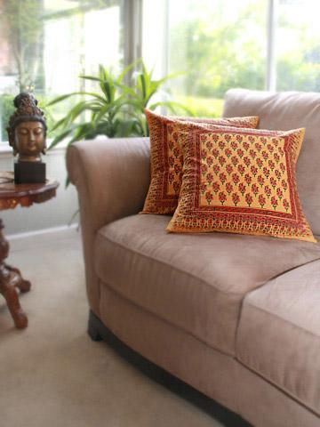 India handprinted orange pillow cover