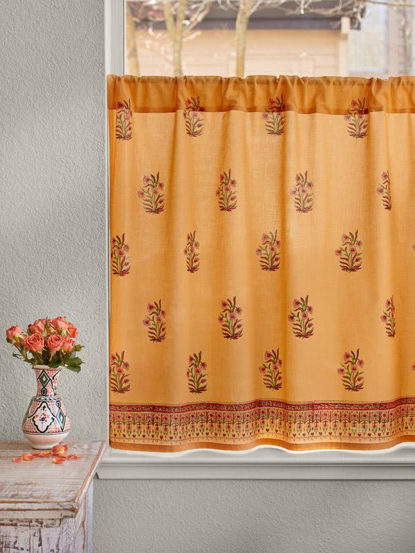 Orange Kitchen Curtain Floral Mango Saffron Marigold