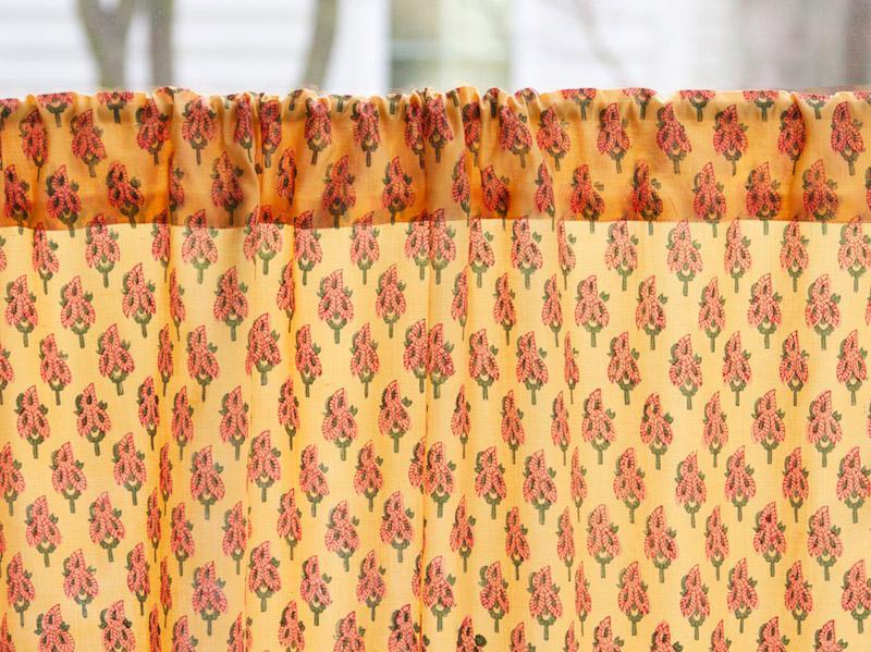 Indian Summer ~ Orange Paisley India Sari Kitchen Curtain