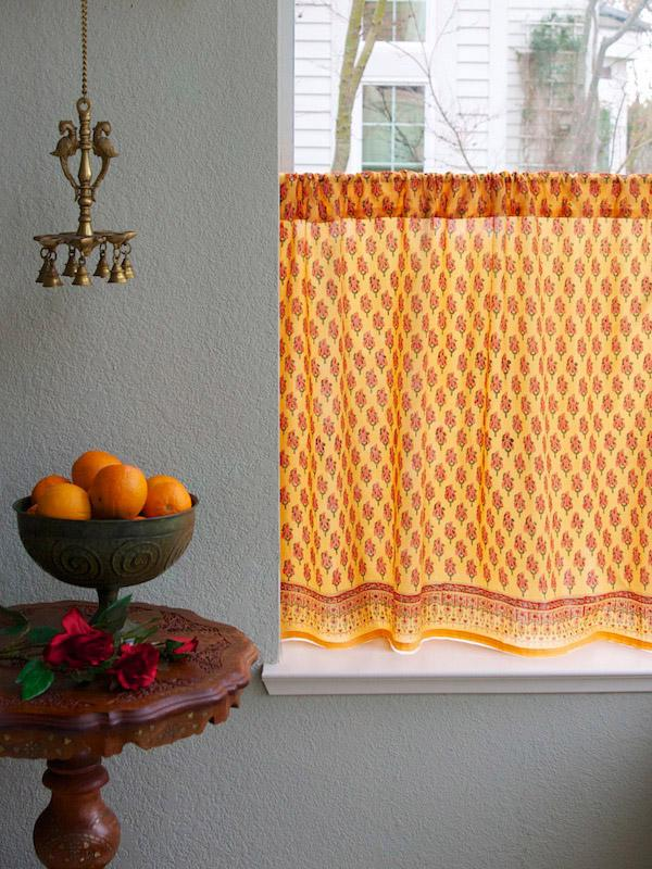 Orange kitchen curtain, Paisley, Indian | Saffron Marigold