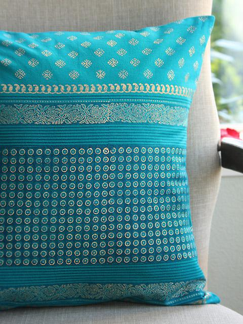Favorite Turquoise Blue Throws, 18 inch, Blue and Gold throw cushion cover  GA24