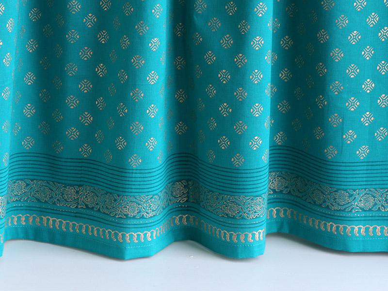 Jeweled Peacock Turquoise Blue And Gold Kitchen Curtain
