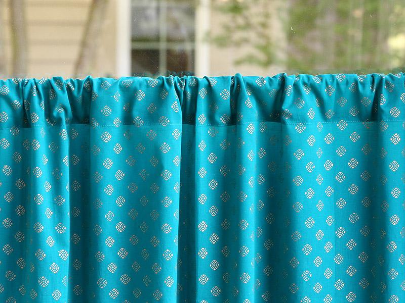 Indian Sari Kitchen Curtain Turquoise Gold Saffron