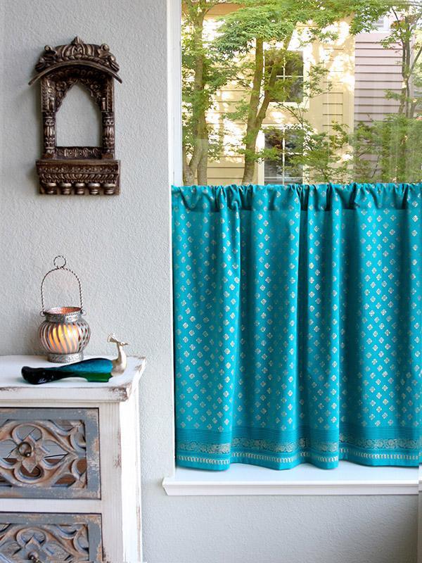 indian sari kitchen curtain turquoise gold saffron marigold - Kitchen Cafe Curtains