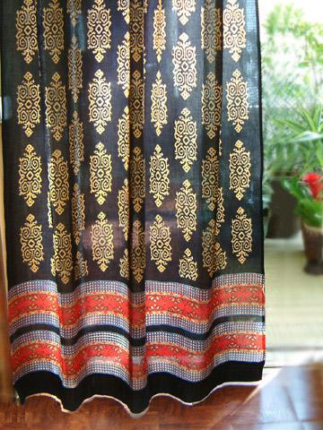 Exotic Curtain Black Gold Saffron Marigold