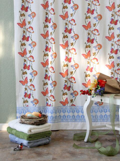 Butterfly Shower Curtain French Country Summer White