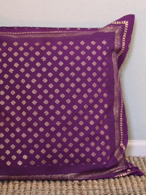 Brand new Dark Purple Euro, Plum Purple and Gold Euro sham, Sari India euro  BN94