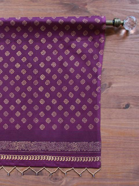 purple and gold shower curtain. Dark Purple Valance  Plum and Gold Sari India Sheer treatment Saffron Marigold