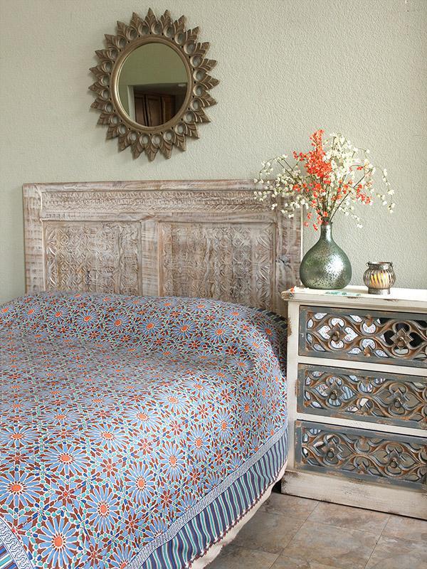 Moroccan Bedspread Tile Print Blue Stars Saffron Marigold