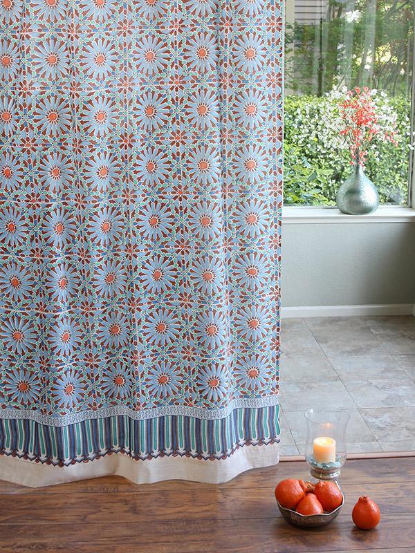 Moroccan Tile Print Sheer Curtain Panel Moroccan Curtain