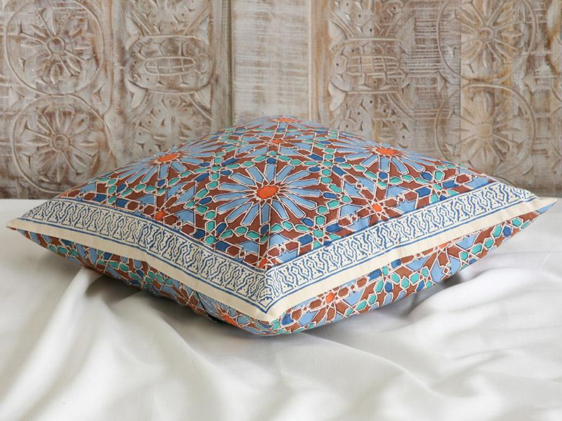 Moroccan Tile Print Cushion Cover Blue Decorative Throw
