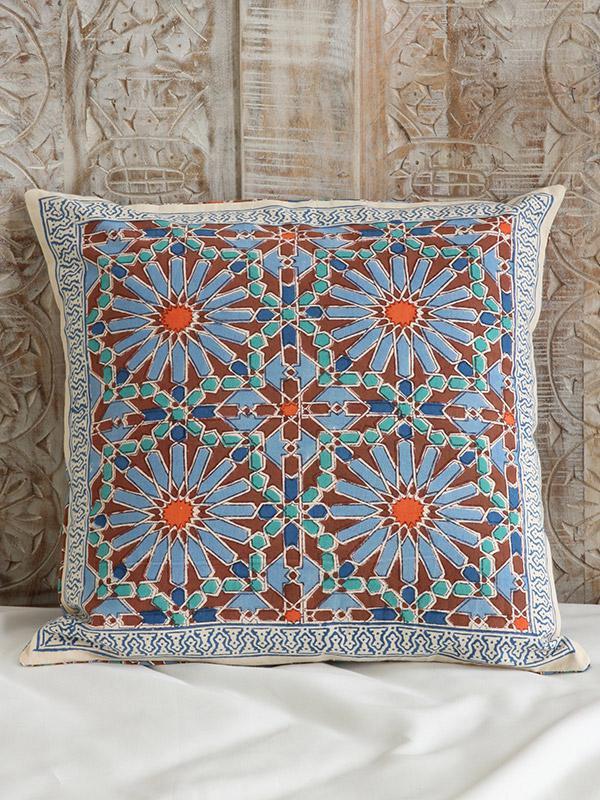 Moroccan Tile Print Cushion Cover Blue Decorative Throw