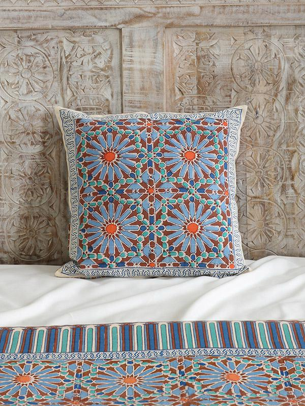 Moroccan Tile Print Blue Bedding Window Treatment And