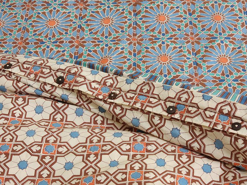 Mosaique Bleue Moroccan Tile Print Duvet Cover