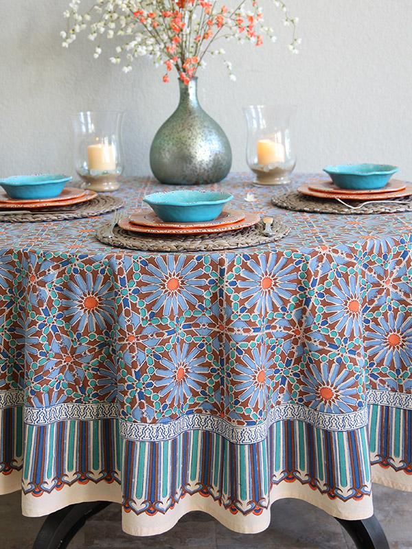 Moroccan Tile Print Blue Round Tablecloth 70 90 Inch