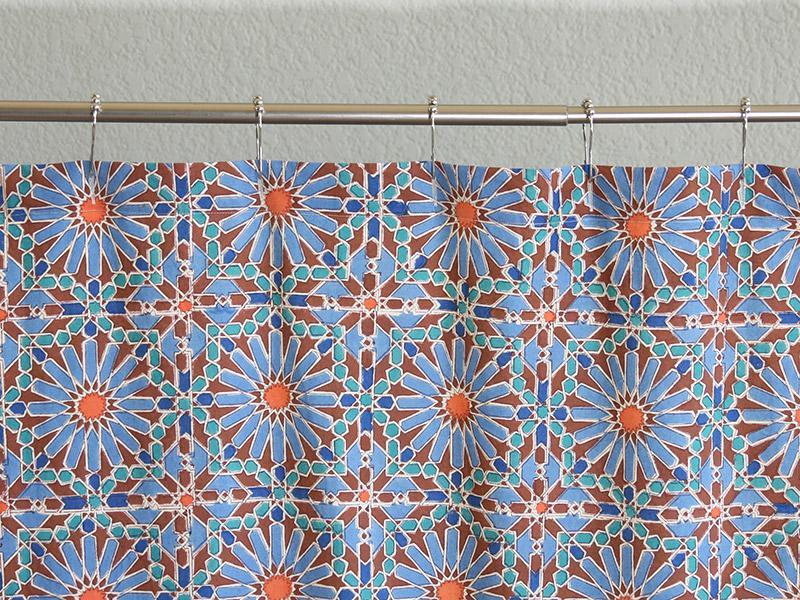 Moroccan Tile Print Shower Curtain Blue Shower Curtain
