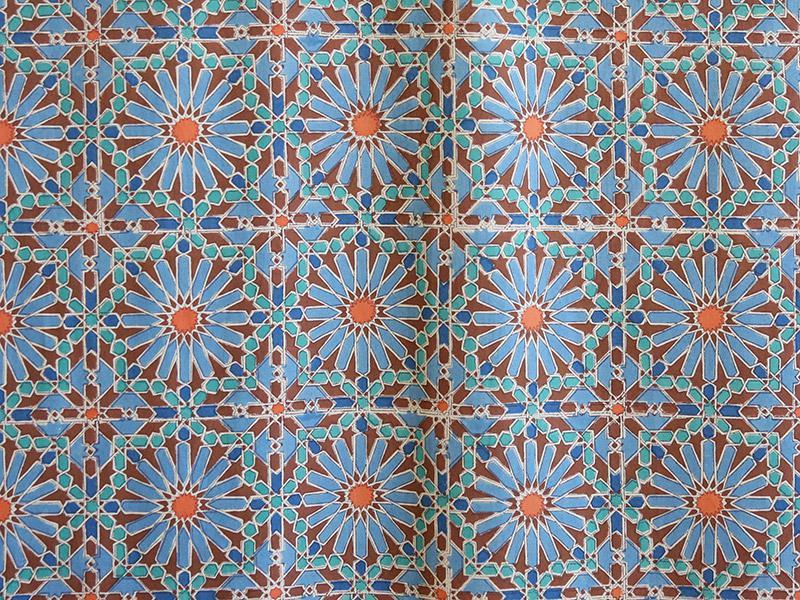 Mosaique Bleue Moroccan Tile Blue Sheer Curtain Panel