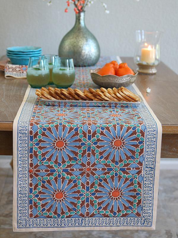 Moroccan Tile Print Blue Table Runner 90 180 120 Inch
