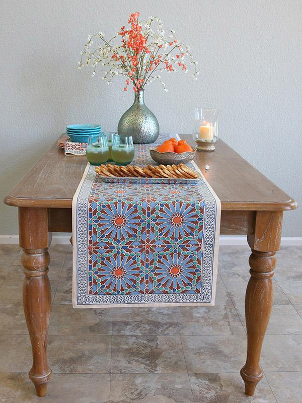Moroccan Tile Print Blue Table Runner, 90 180 120 Inch Long, 18 Inch Wide |  Saffron Marigold