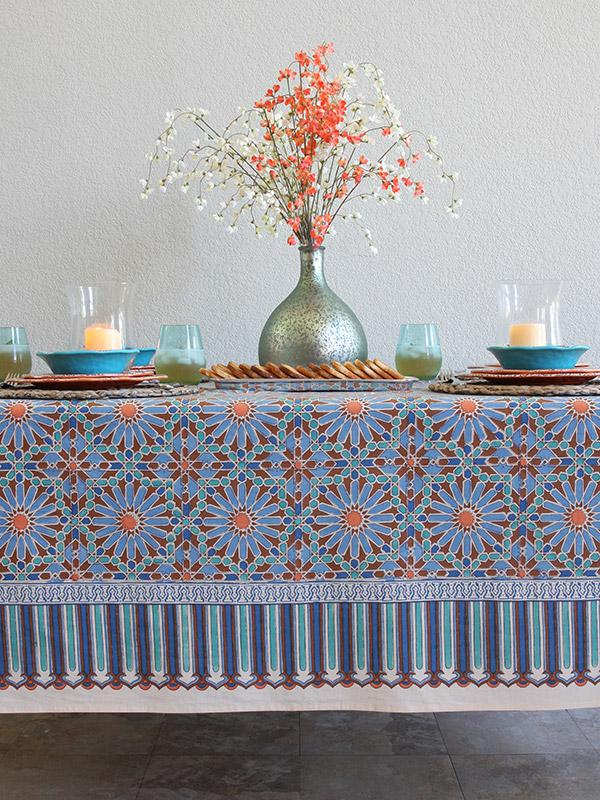 Moroccan Tile Print Blue Tablecloth 90 180 120 Inch Long