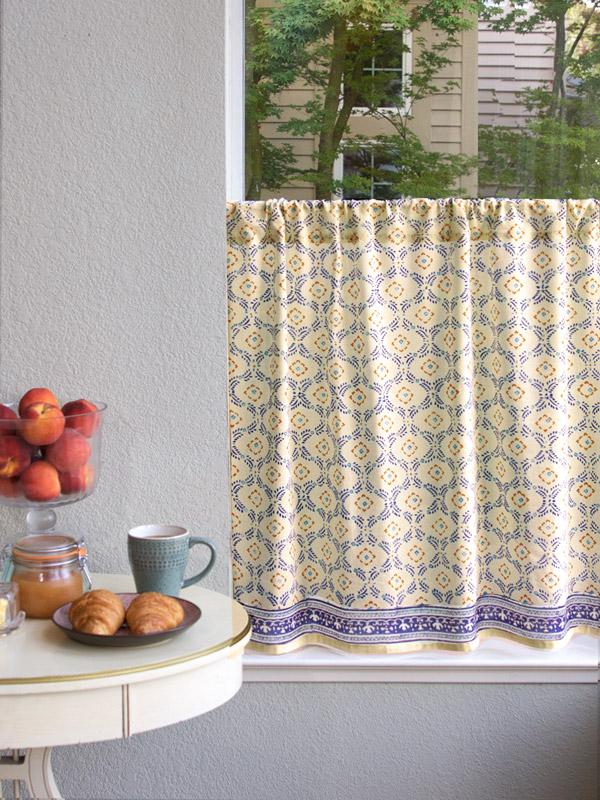 Morning Dew (CP) ~ French Country Trellis Yellow Kitchen Curtain