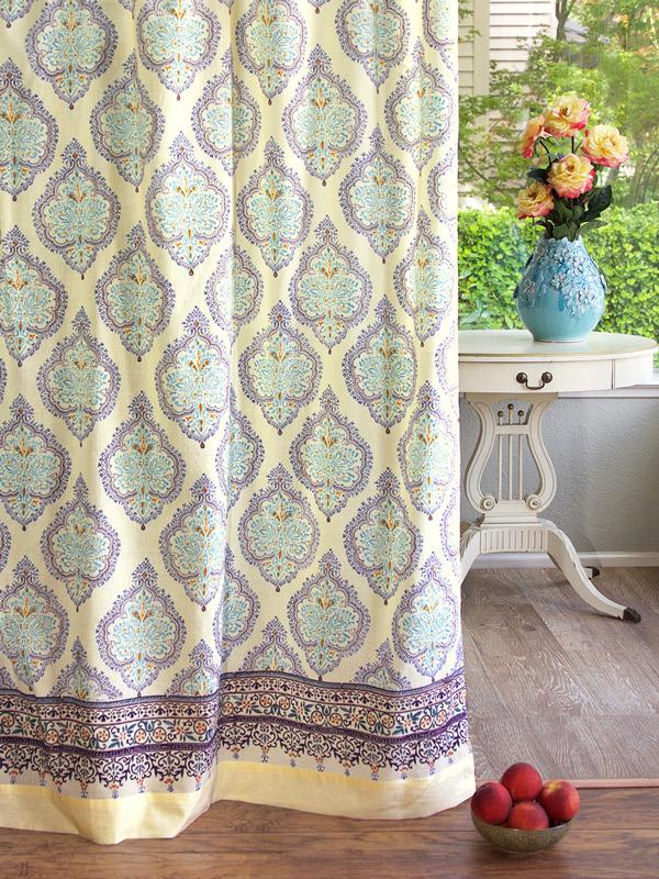 French Country Curtain Pale Yellow Motifs Saffron Marigold